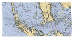Sanibel And Captiva Islands Nautical Chart Beach Towel