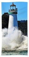 Santa Cruz Lighthouse And Crashing Waves Beach Towel