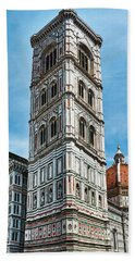 Santa Maria Del Fiore Cathedral Doorway And Bell Tower Beach Towel