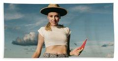 Sasha With Watermelon Beach Towel