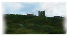 Scarborough Castle Painting Beach Towel