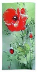 Scarlet Poppy Flower Beach Towel