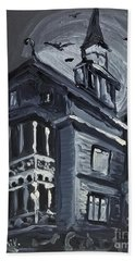 Beach Towel featuring the painting Scary Old House by Maria Langgle
