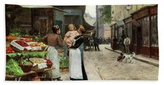 Scene On A French Market, Old Paris Beach Towel