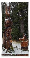 Sculpture Of Eagle In Villa La Angostura Beach Towel