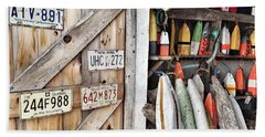 Sea Shack Plates And Buoys Beach Towel