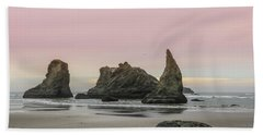 Beach Towel featuring the photograph Sea Stack And Spires Sunset 3, Bandon Beach, Oregon by Dawn Richards