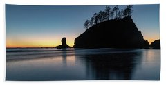 Sea Stack Silhouette Beach Towel