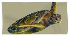 Sea Turtle 2 - Solid Background Beach Towel