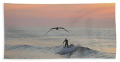 Seagull And A Surfer Beach Towel