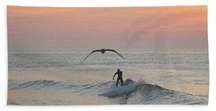 Seagull And A Surfer Beach Sheet