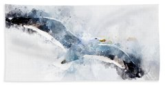 Seagull In Flight With Watercolor Effects Beach Towel