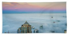 Seattle Emerges From The Clouds At Dawn Beach Towel