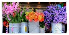 Seattle Flower Market Beach Towel