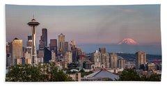 Beach Towel featuring the photograph Seattle Skyline And Mt. Rainier Panoramic by Adam Romanowicz