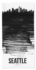 Seattle Skyline Brush Stroke Black Beach Towel