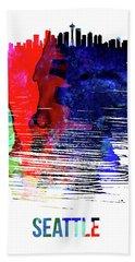 Seattle Skyline Brush Stroke Watercolor   Beach Towel