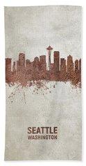 Seattle Washington Rust Skyline Beach Towel