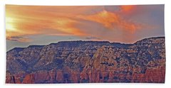 Beach Towel featuring the mixed media Sedona Dusk 5 by Lynda Lehmann