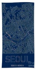 Seoul Blueprint City Map Beach Towel