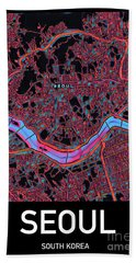 Seoul City Map Beach Towel