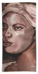 Sepia Woman Beach Towel