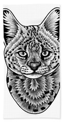 Serval Cat - In Illustration Beach Towel