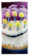 Seven Candle Birthday Cake Beach Towel