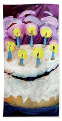 Seven Candle Birthday Cake Beach Towel