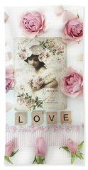 Shabby Chic Love Pink Roses Victorian Floral Vintage French Girl Pink Roses Love Decor Beach Towel