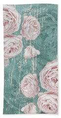 Shabby Chic Roses Distressed Beach Towel