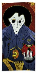 Beach Towel featuring the painting Shadow Priest by Sotuland Art