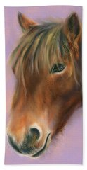 Beach Towel featuring the pastel Shaggy Brown Pony by MM Anderson