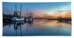 Beach Towel featuring the photograph Shem Creek Blue Hour, Mt. Pleasant Sc by Donnie Whitaker