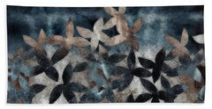 Shibori Leaves Indigo Print Beach Towel