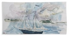 Ship Sketch Beach Towel