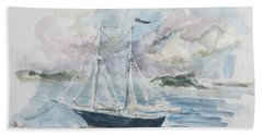 Ship Sketch Beach Towel