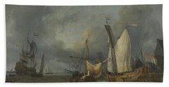 Ships In The Harbor With A Strong Breeze Beach Towel