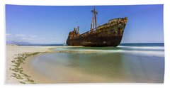 Shipwreck Dimitros Near Gythio, Greece Beach Sheet