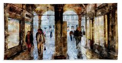 Shopping Area Of Saint Mark Square In Venice, Italy - Watercolor Effect Beach Towel