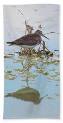 Shorebird Reflection Beach Towel