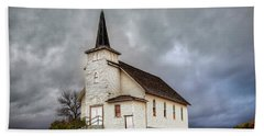 Shuttered Church In Cartwright North Dakota Beach Towel