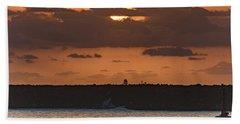 Silhouettes, Breakwall And Sunrise Seascape Beach Towel