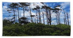 Silhouettes Of Wind Sculpted Krumholz Trees  Beach Towel