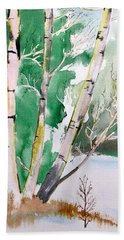 Silver Birch In Snow Beach Towel