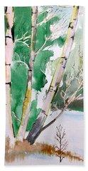 Silver Birch In Snow Beach Sheet
