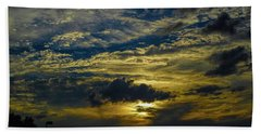 Silver, Blue And Gold Beach Towel