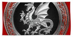 Silver Winged Norse Dragon - Icelandic Viking Landvaettir On Black And Silver Medallion Over Red  Beach Towel