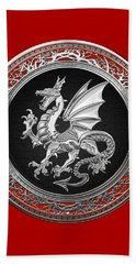 Silver Winged Norse Dragon - Icelandic Viking Landvaettir On Black And Silver Medallion Over Red  Beach Sheet
