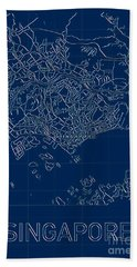 Singapore Blueprint City Map Beach Towel